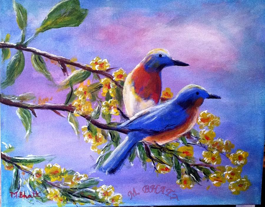 Beautiful birds painting by m bhatt for Beautiful painting images