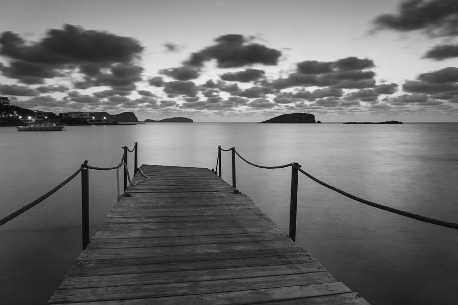 Landscape photograph beautiful black and white ibiza coastal sunrise landscape by matthew gibson