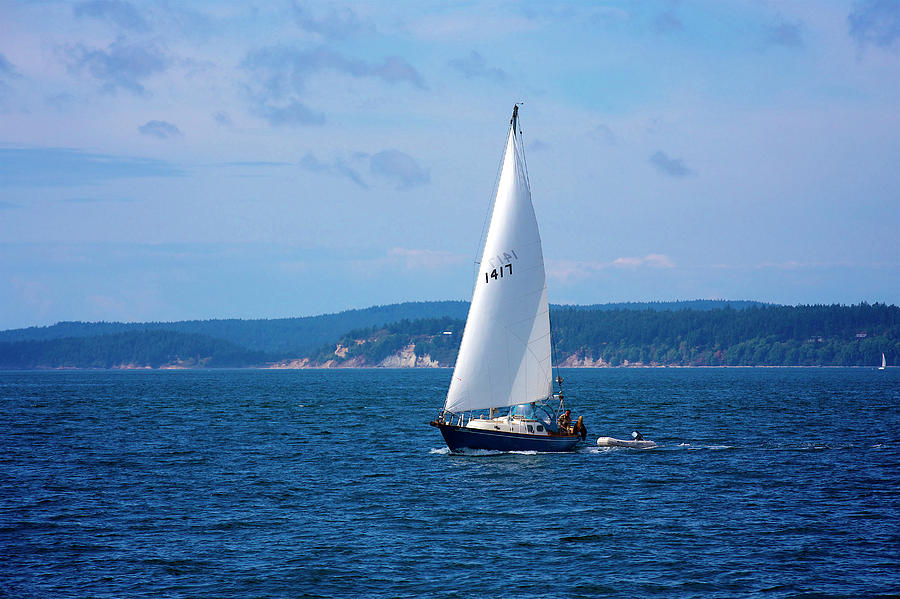 Wind Photograph - Beautiful Boat Sailing At Puget Sound by Evgeny Vasenev