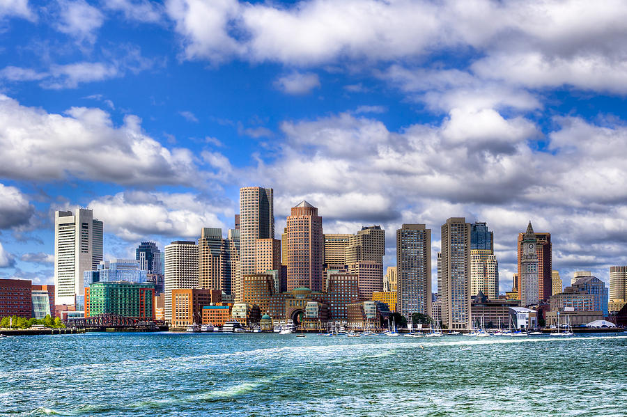 Boston Photograph - Beautiful Boston Skyline From The Harbor by Mark E Tisdale