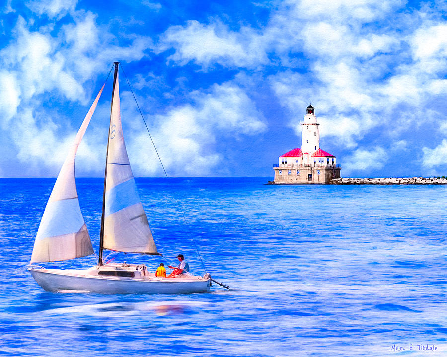 Chicago Harbor Light Photograph - Beautiful Day For Sailing - Chicago Harbor Light by Mark E Tisdale