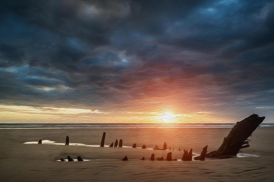 Beautiful Dramatic Sunset Landscape Over Shipwreck On Rhosilli Bay