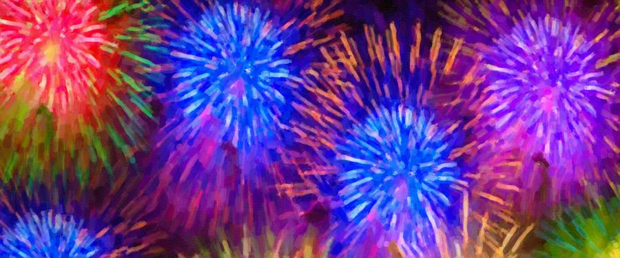 Firework Painting - Beautiful Fireworks 10 by Jeelan Clark