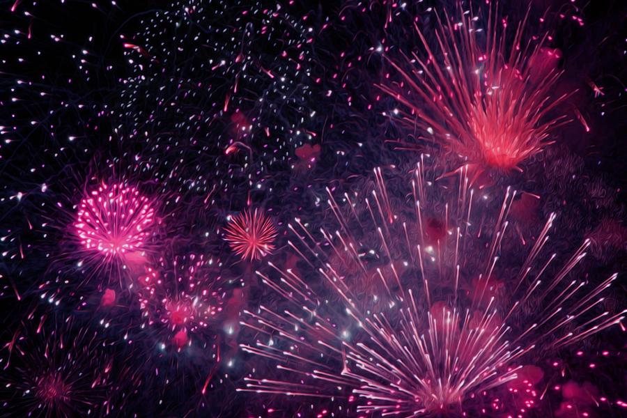 Firework Painting - Beautiful Fireworks 12 by Jeelan Clark