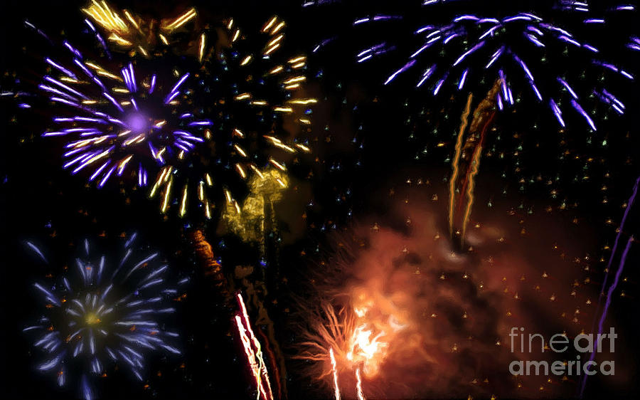Firework Painting - Beautiful Fireworks 5 by Jeelan Clark