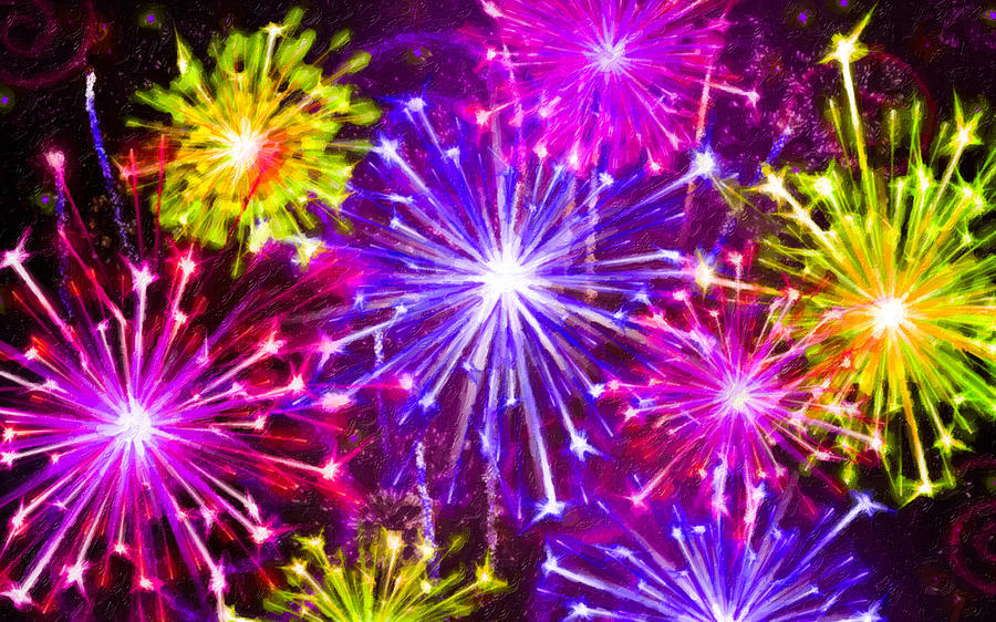 Firework Painting - Beautiful Fireworks  6 by Jeelan Clark