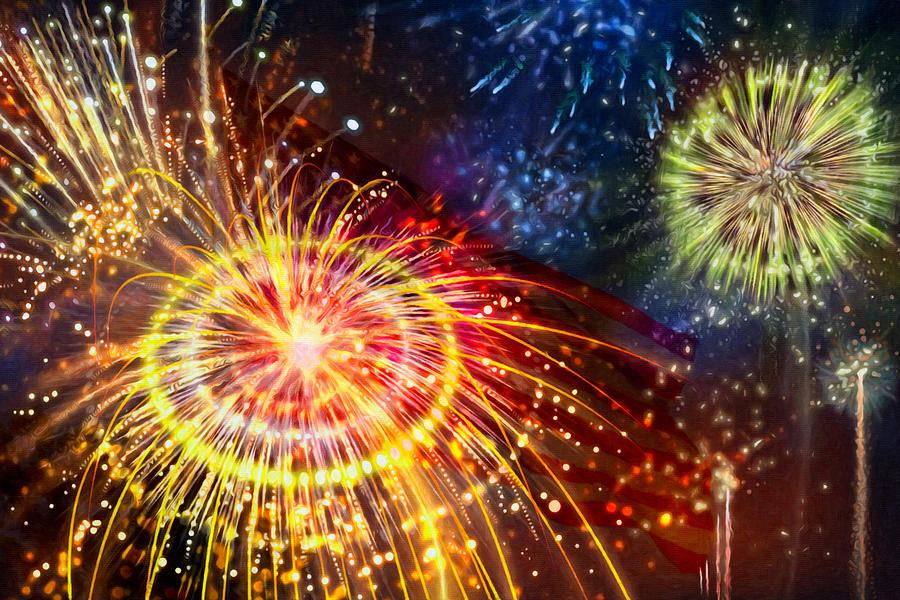 Firework Painting - Beautiful Fireworks 8 by Jeelan Clark