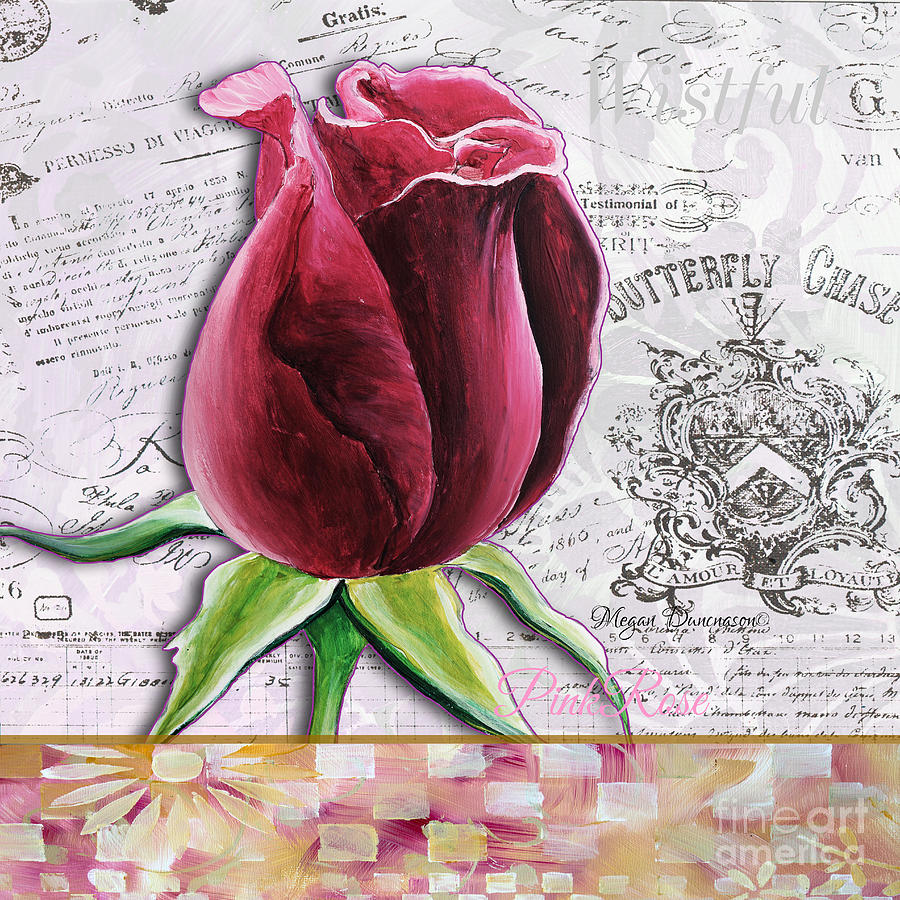Rose Painting - Beautiful Floral Pink Rose Original Flower Painting By Megan Duncanson by Megan Duncanson