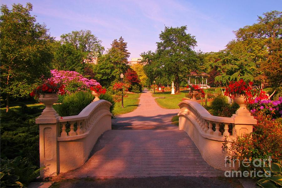 Beautiful Foot Bridge In Halifax Public Gardens Painting by John