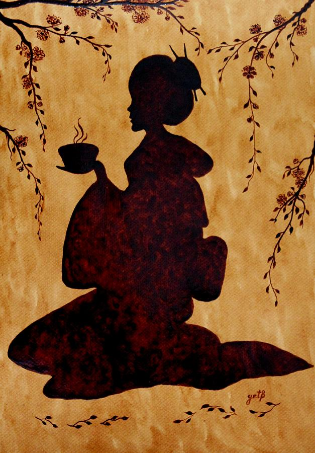 Beautiful Geisha Coffee Painting Painting by Georgeta  Blanaru