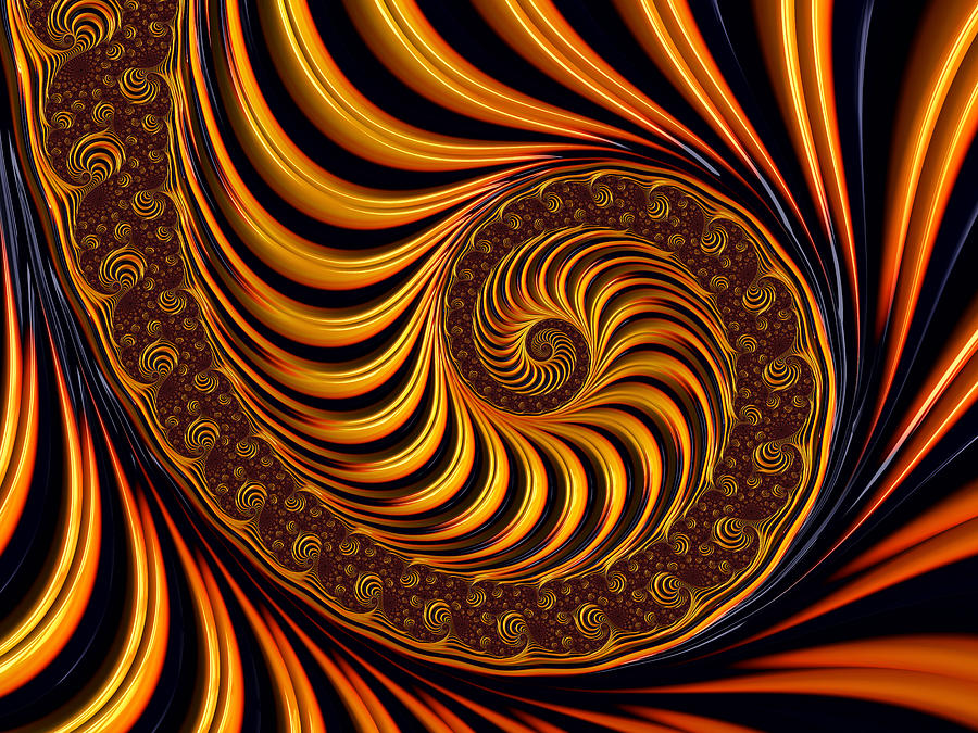 Beautiful Golden Fractal Spiral Artwork Digital Art By
