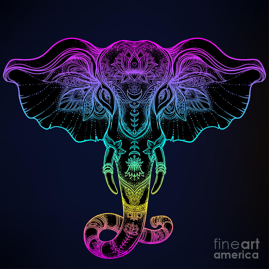 Psychedelic Digital Art - Beautiful Hand-drawn Tribal Style by Gorbash Varvara