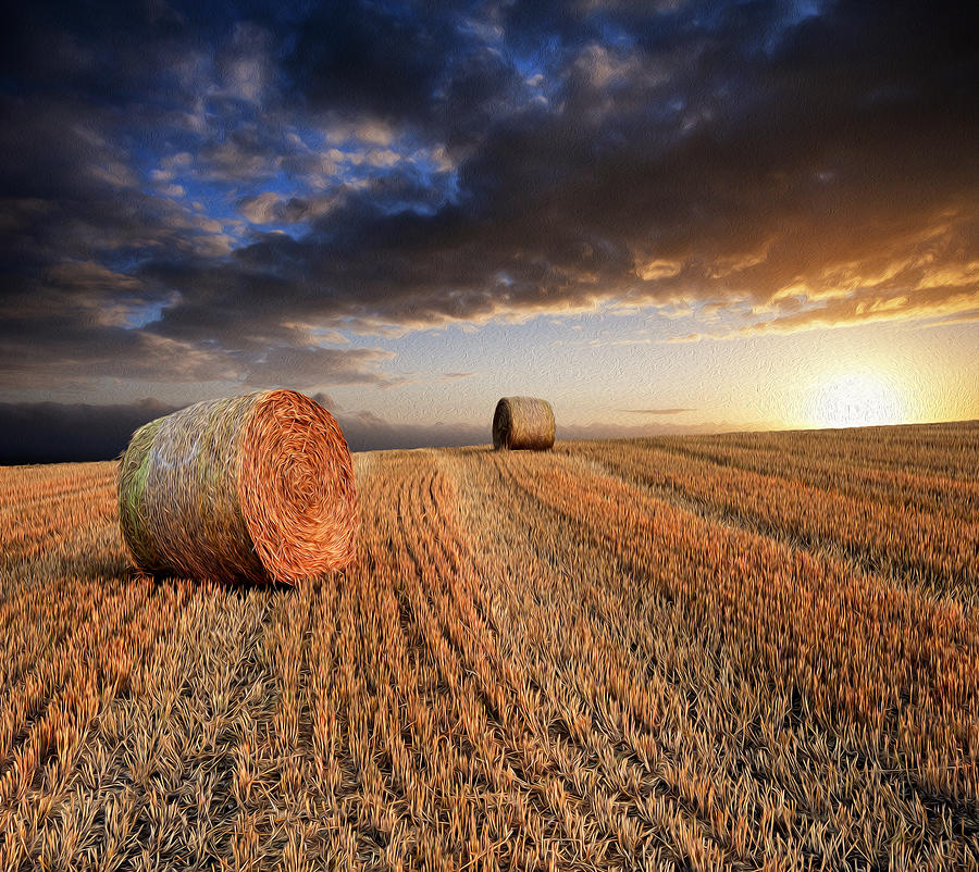 Landscape Photograph - Beautiful Hay Bales Sunset Landscape Digital Painting by Matthew Gibson