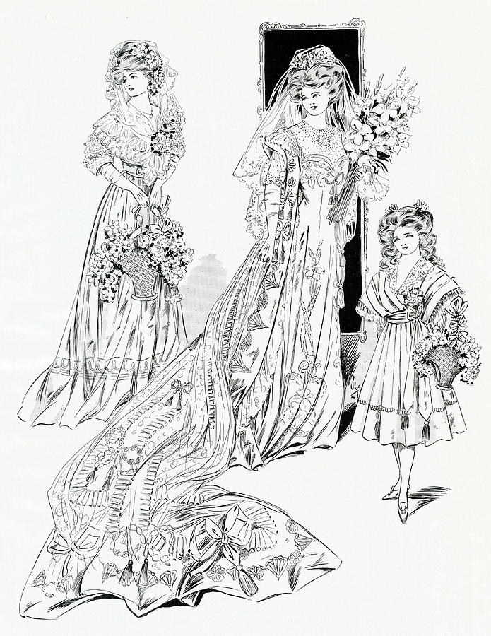 Beautiful Laced Wedding Dress Drawing By Mary Evans Picture Library