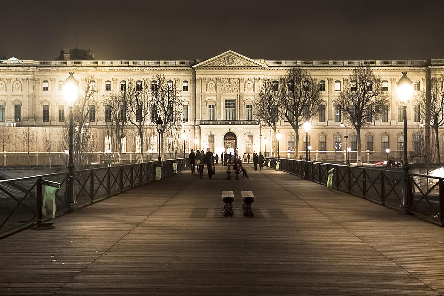 Louvre Photograph - Beautiful Louvre Museum Viewed From The Pont Des Arts At Night by Mark E Tisdale