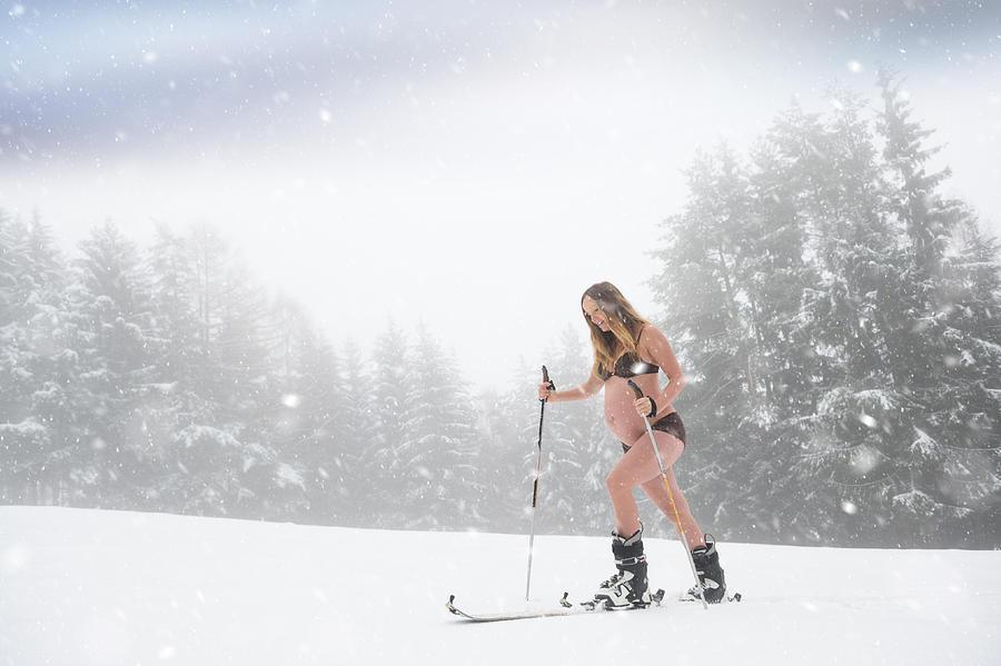 Beautiful Maternity Portrait In Winter Photograph by Saso Novoselic