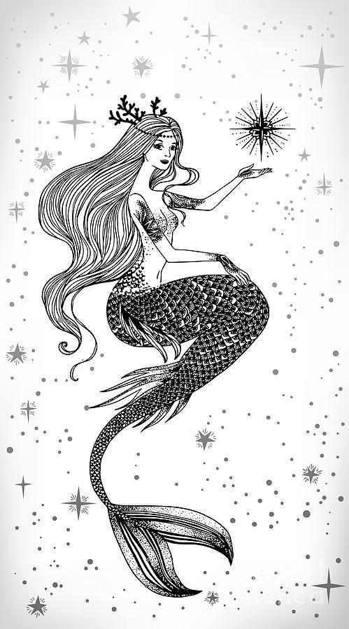Symbol Digital Art - Beautiful Mermaid With Star In Her by Anastasia Mazeina