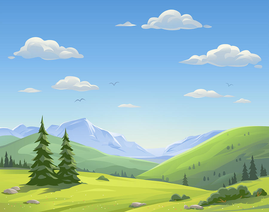 Beautiful Mountain Landscape Drawing by Kbeis