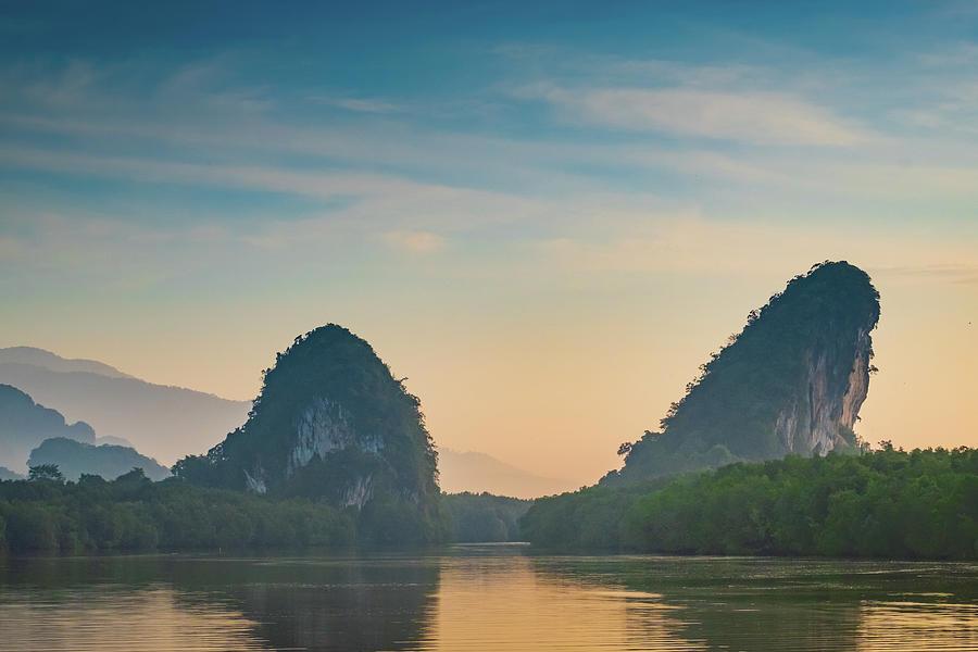 Beautiful Mountain Sunrise At Tropical Photograph by Dulyanut Swdp