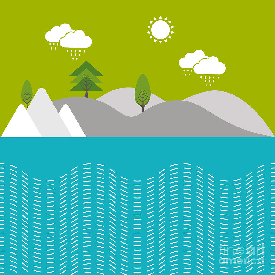 Drop Digital Art - Beautiful Nature Background With River by Allies Interactive