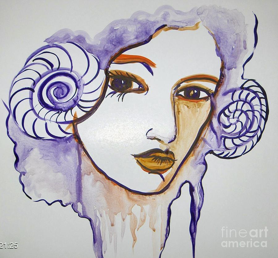 Beautiful Ocean Girl Painting by Farfallina Art -Gabriela Dinca-