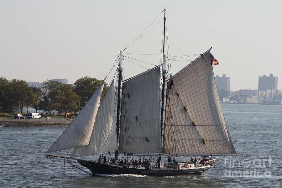 Telfer Photograph - Beautiful Sailboat In Manhattan Harbor by John Telfer