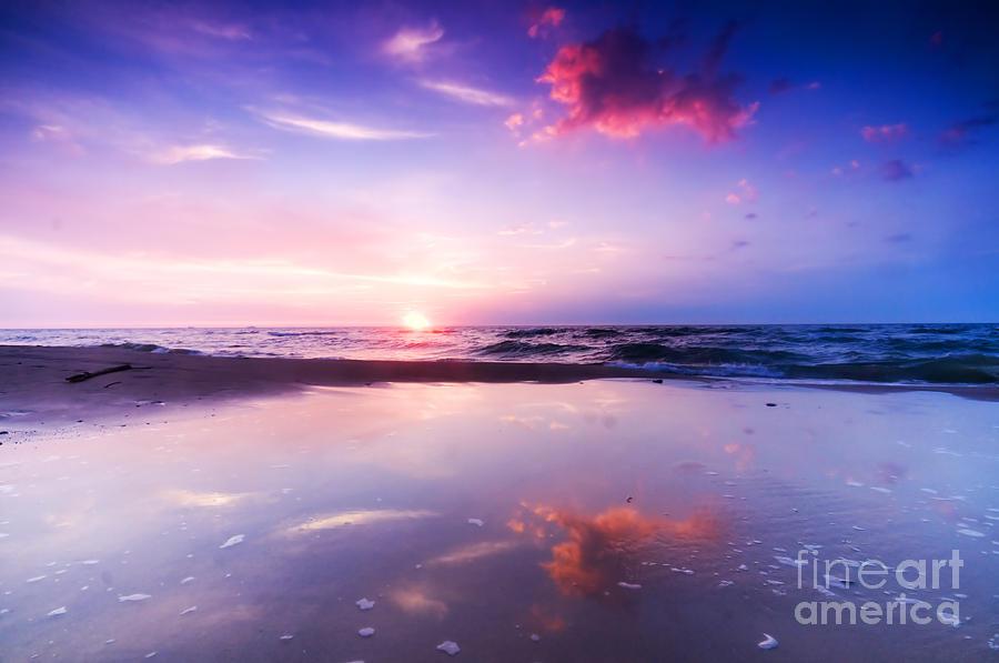 Sea Photograph - Beautiful Sea Sunrise by Michal Bednarek