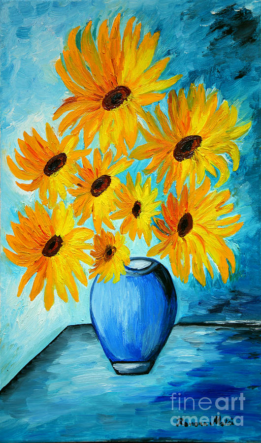 Beautiful Sunflowers In Blue Vase Painting By Ramona Matei