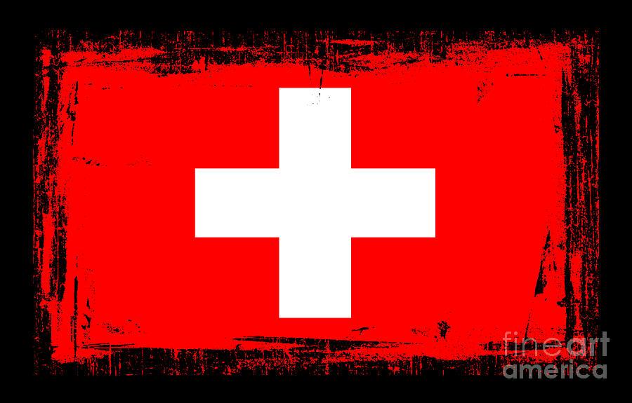 Switzerland Flag Mixed Media - Beautiful Switzerland Flag by Pamela Johnson