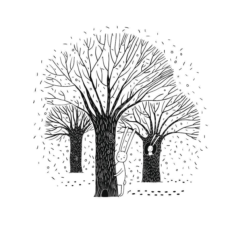 Beautiful Trees Birds And Rabbit By N Chetkova