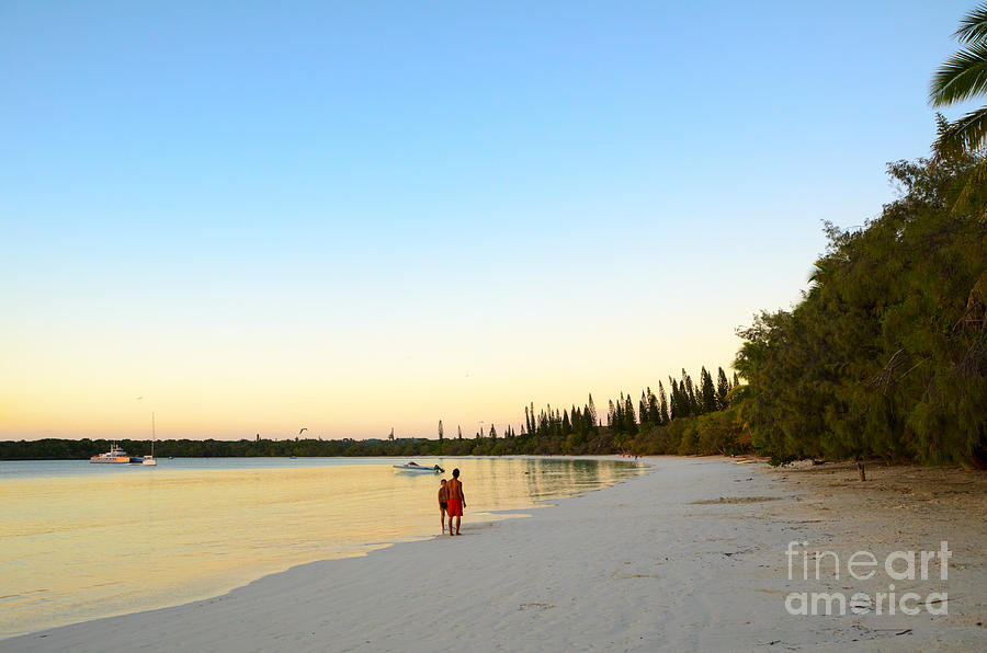 Beautiful Photograph - Beautiful Tropical Bay Beach And Sunset - Ile Des Pin - New Caledonia - South Pacific by David Hill