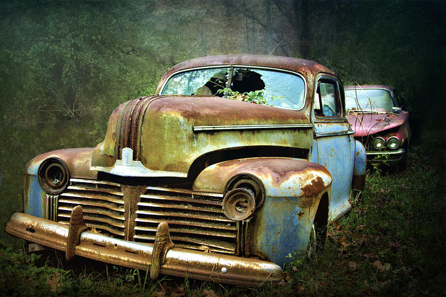 Beautiful Vintage Junkyard Cars Photograph by Judy Kennamer