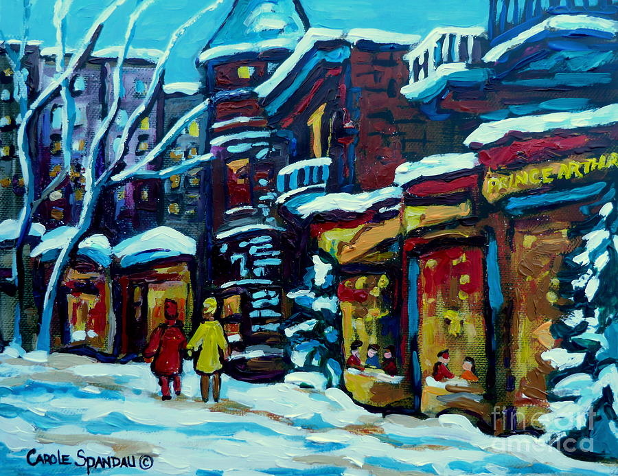 Montreal Painting - Beautiful Winter Evening by Carole Spandau