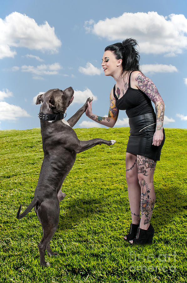 Adult Photograph - Beautiful Woman And Pit Bull by Rob Byron
