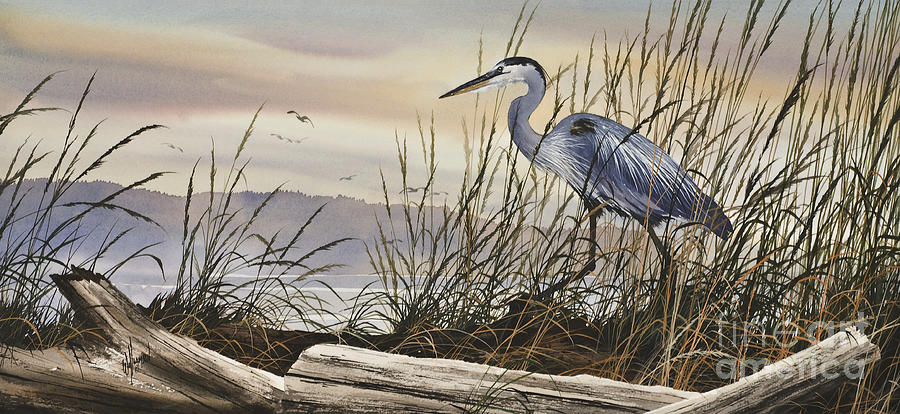 Heron Greeting Cards Painting - Beauty Along The Shore by James Williamson