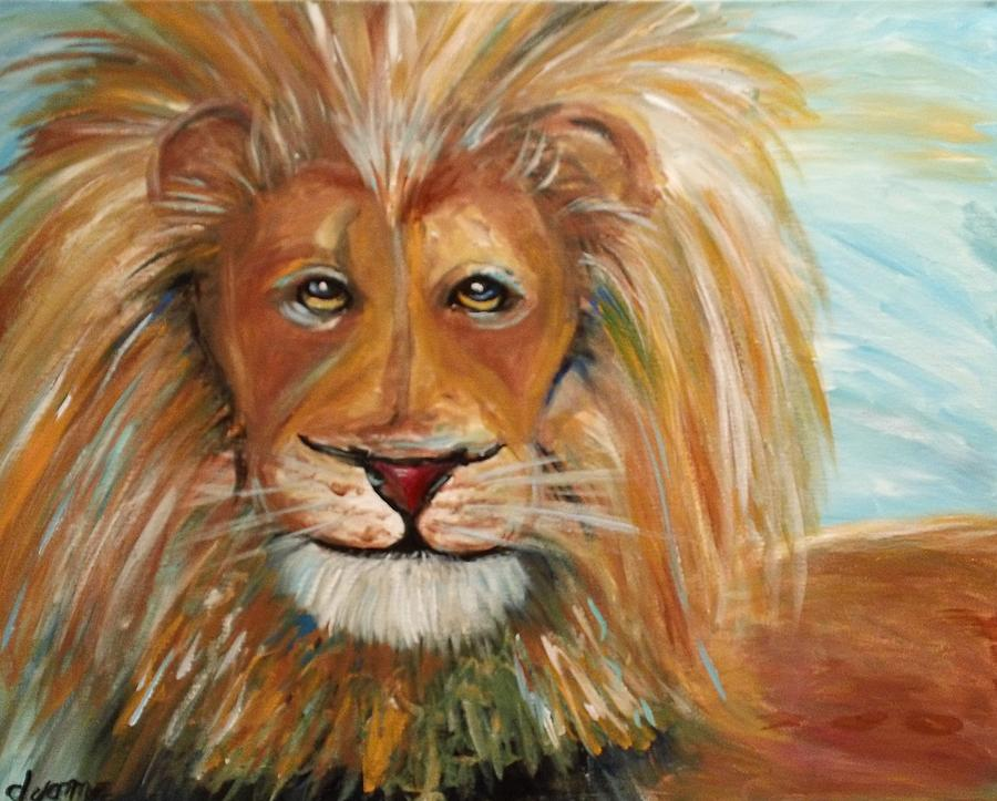 Lion Painting - Beauty And The Beast by Dyanne Parker