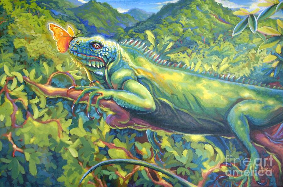 Iguana Painting - Beauty Endangered by Lowell Royer