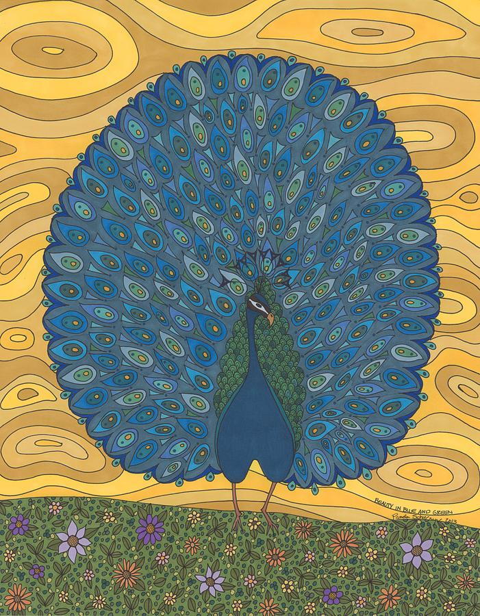 Peacock Drawing - Beauty In Blue And Green by Pamela Schiermeyer