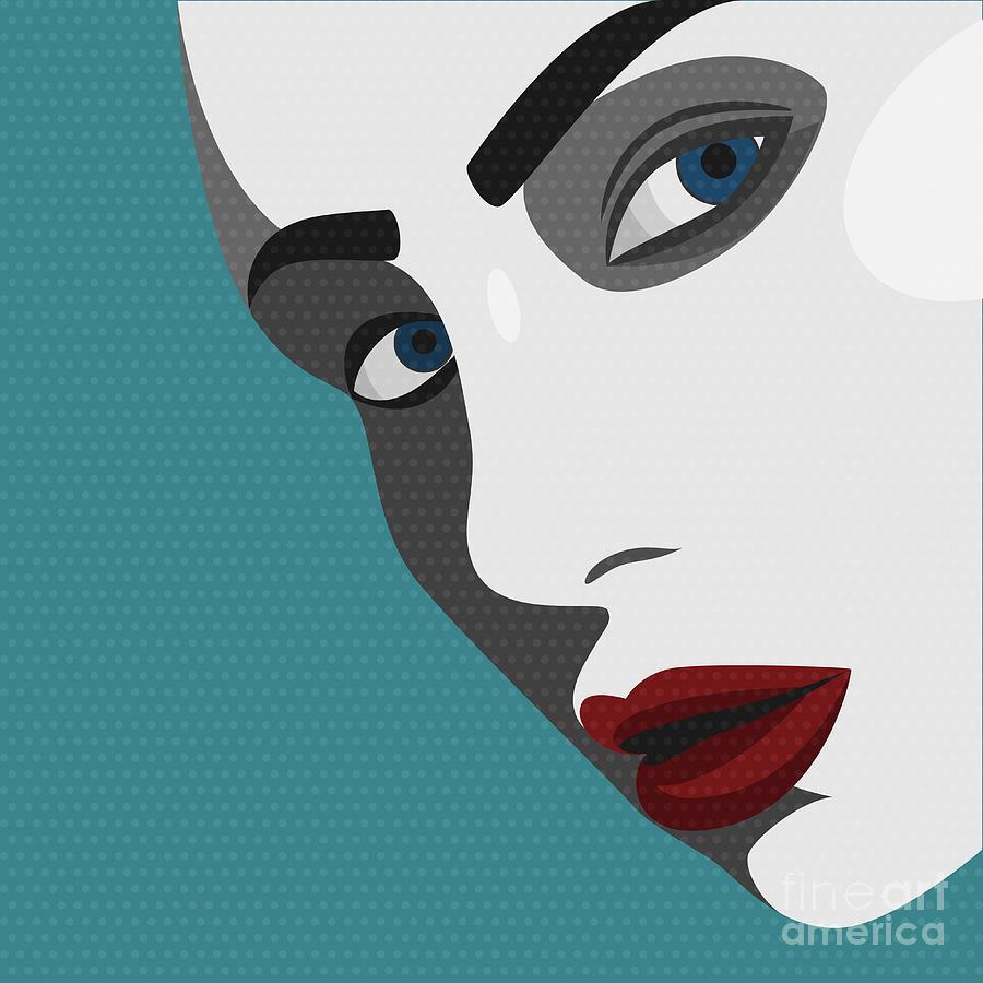 Makeup Digital Art - Beauty Pop Art Young Woman With Red by Svyatoslav Aleksandrov