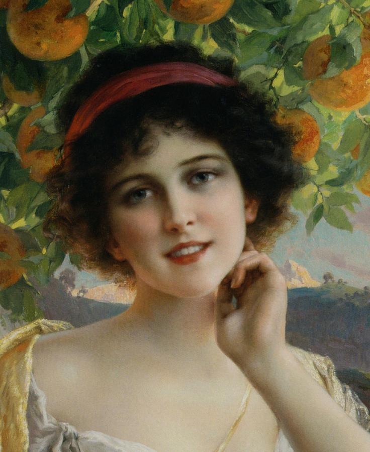 Beauty Under The Orange Tree Detail Digital Art By Emile