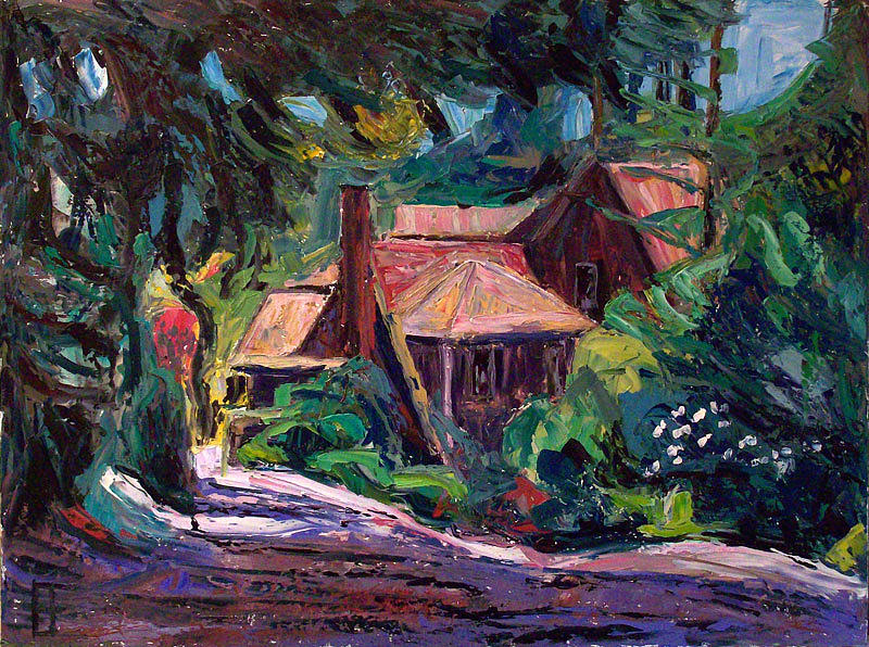 Arts Painting - Beaux Arts Home By Wooded Lane  by Allen Forrest