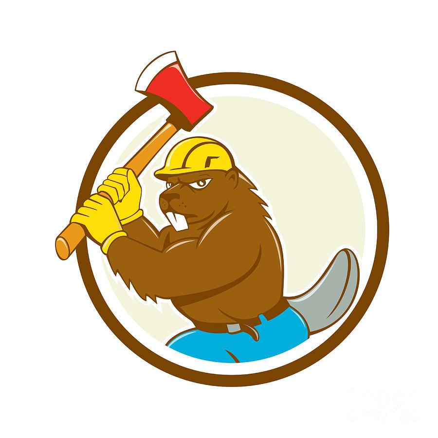 Beaver Digital Art - Beaver Lumberjack Wielding Ax Circle Cartoon by Aloysius Patrimonio