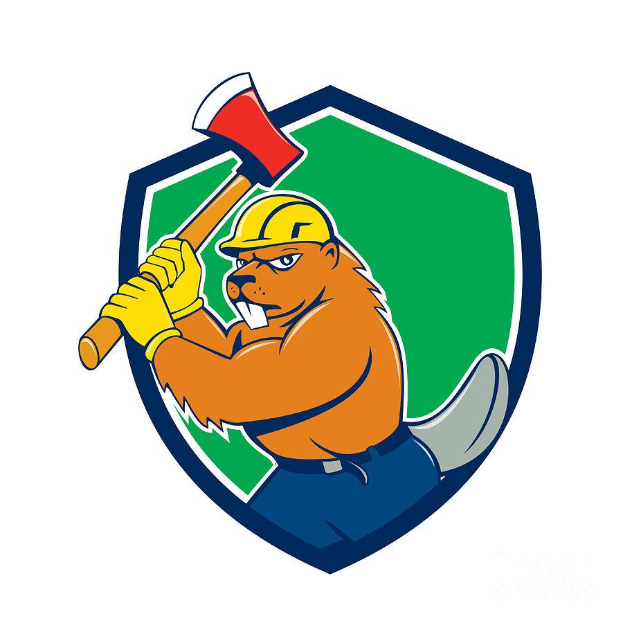 Beaver Digital Art - Beaver Lumberjack Wielding Ax Shield Cartoon by Aloysius Patrimonio
