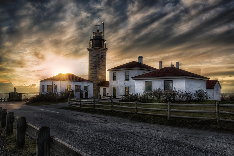 Beavertail Lighthouse Sunset Photograph