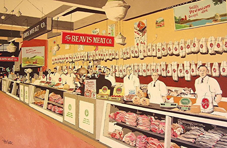 Sacramento Painting - Beavis Meat In The Public Market by Paul Guyer