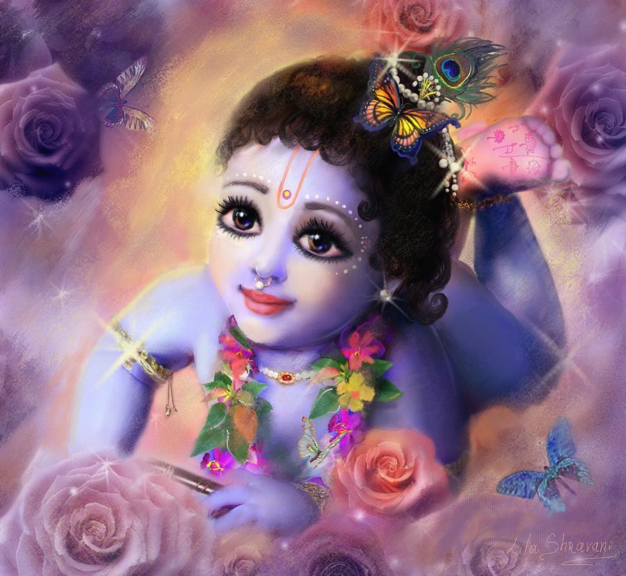 Krishna Art Painting - Baby Kaneya by Lila Shravani