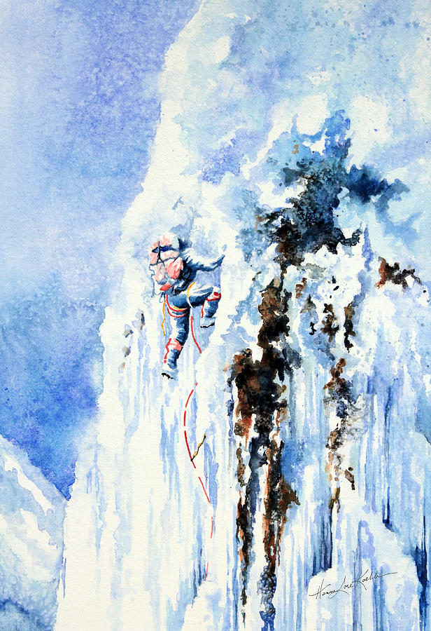 Ice Climbing Painting - Because Its There by Hanne Lore Koehler