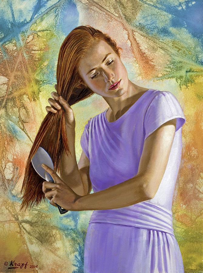 Figure Painting - Becca Brushing Her Hair by Paul Krapf