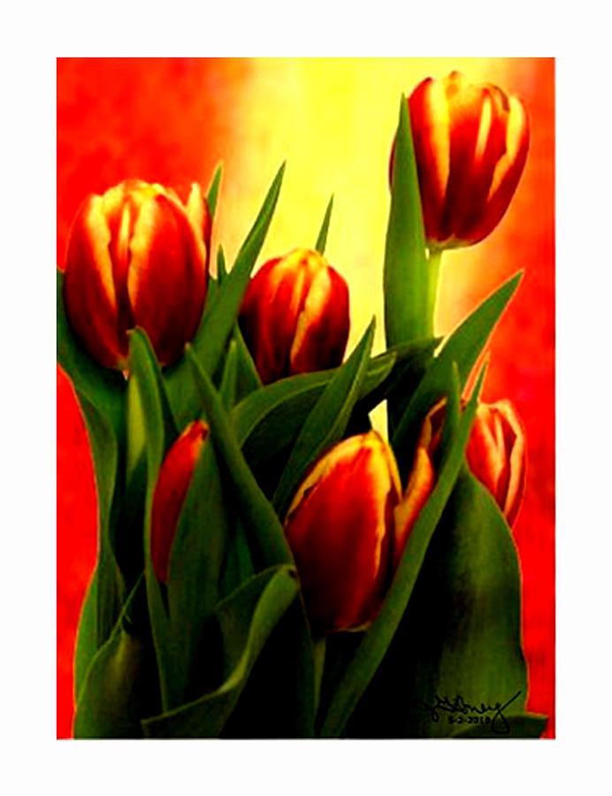 Becky Digital Art - Becky Tulips Art2 Jgibney The Museum Gifts by The MUSEUM Artist Series jGibney