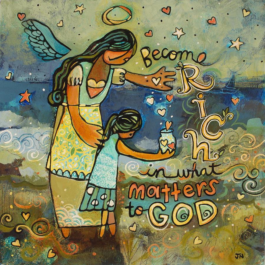 Blue Painting - Become Rich in what Matters to God by Jen Norton